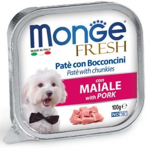 מונג'   MONGE פטה נתחי חזיר 100 גרם