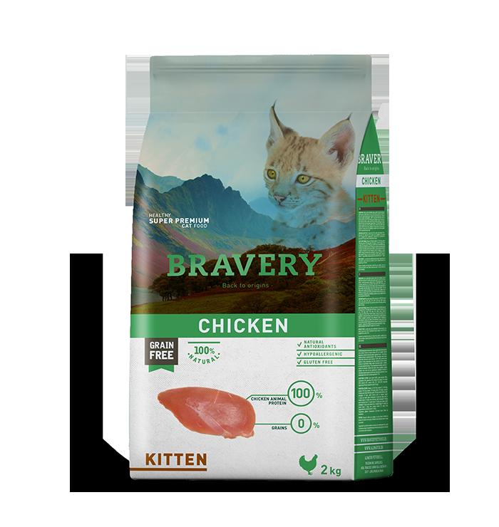 ברייוורי BRAVERY  חתולים עוף  לגור 2 קילוגרם
