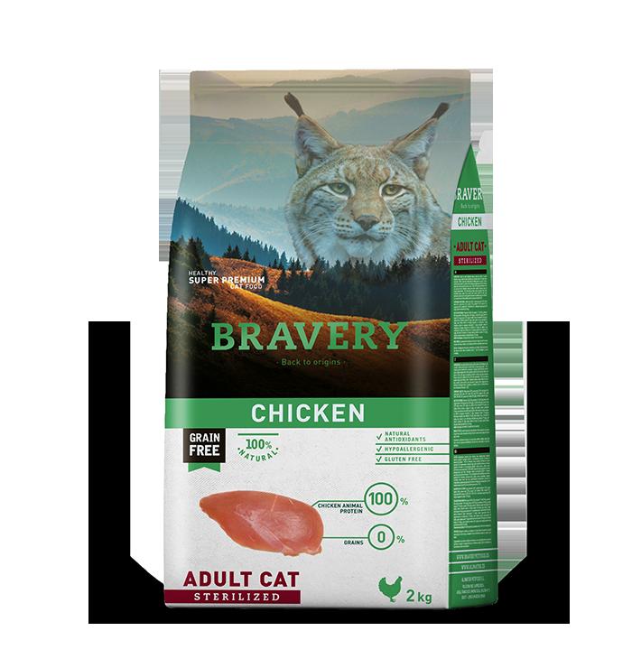 ברייוורי BRAVERY חתולים עוף מסורסים 7 קילוגרם