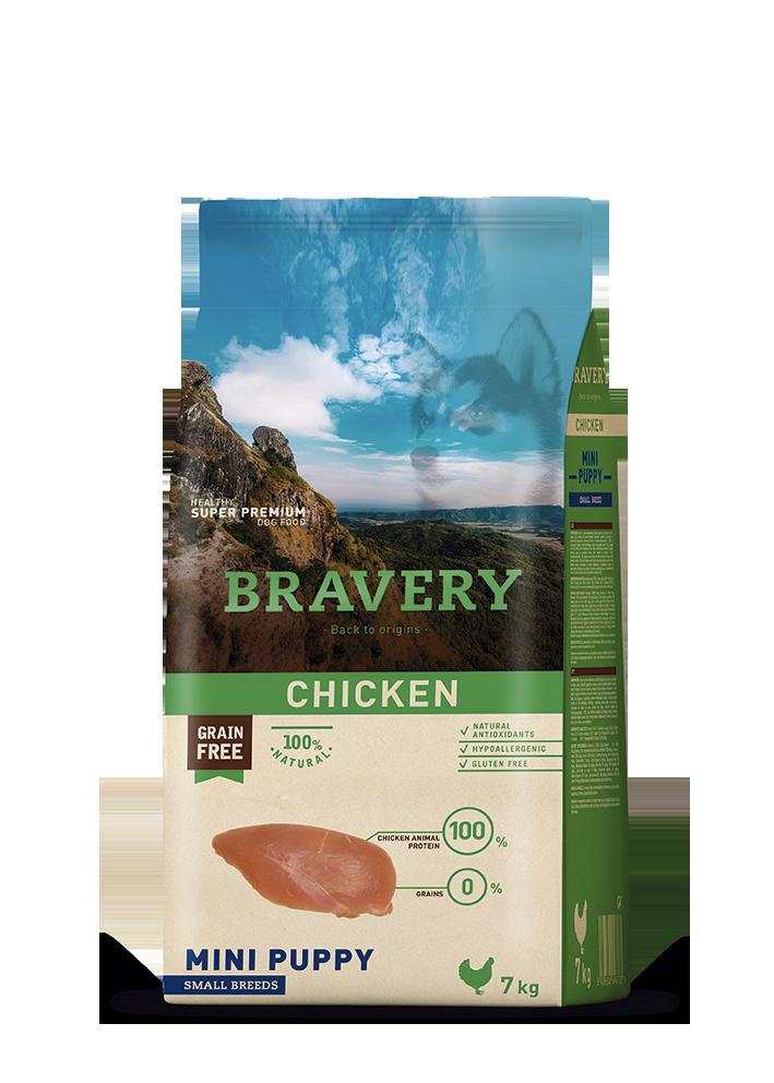 ברייוורי BRAVERY כלבים  -עוף מיני -גורים 7 קילוגרם