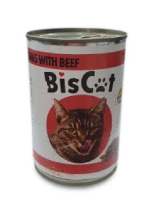BIS CAT  שימורים לחתול בטעם בקר 415 גרם