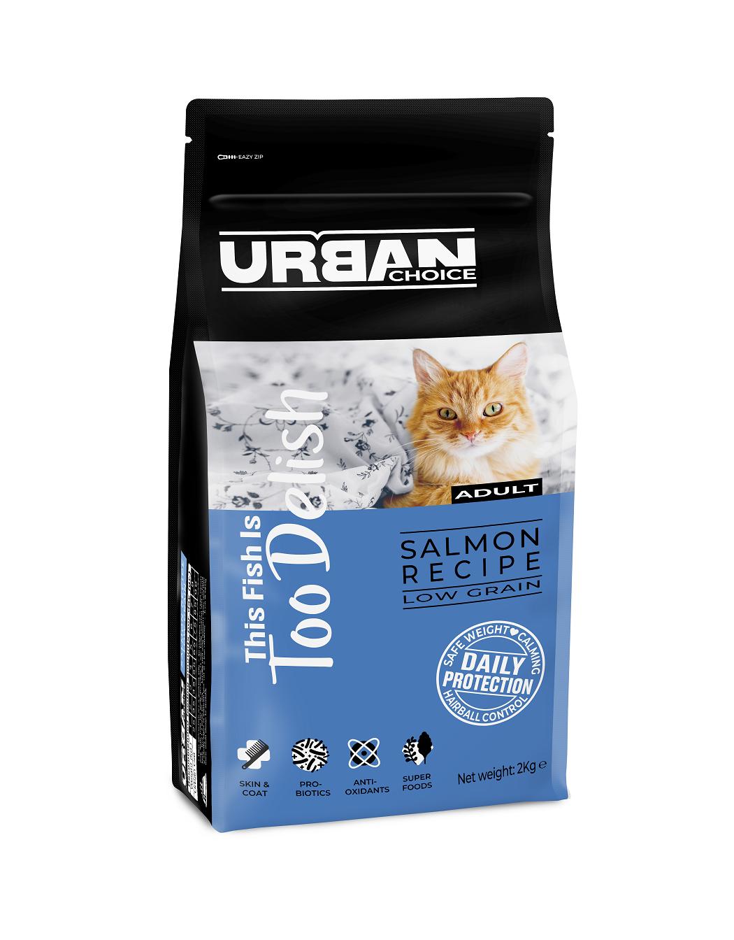 URBAN CHOICE  לחתול בוגר סלמון 2 קילוגרם