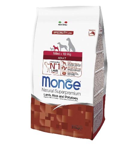 MONGE מונג'  מיני אדלט כבש ואורז 2.5 קילוגרם
